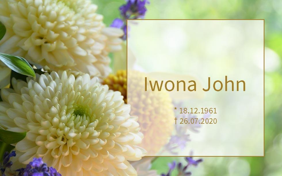 Iwona John *18.12.1961 †26.07.2020